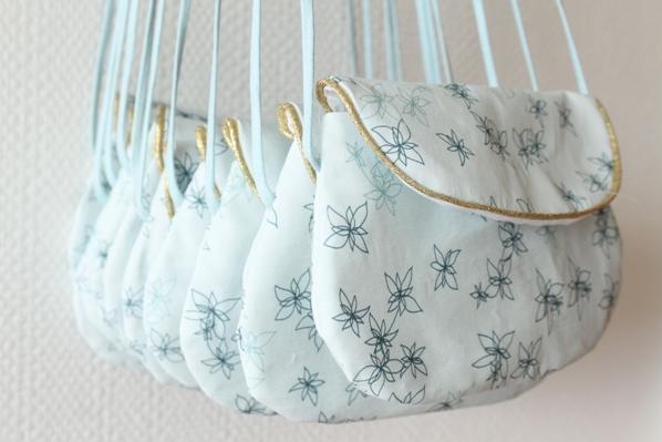 sac bandoulière bleu à fleurs