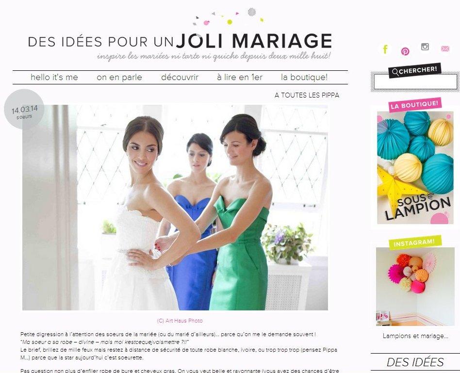 page blog un joli mariage